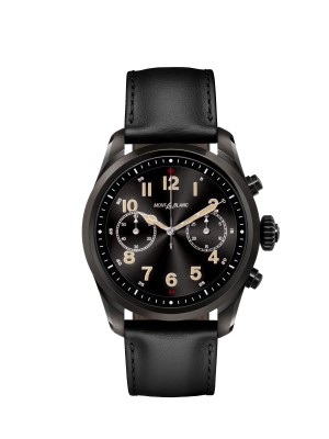 Montblanc Summit 2 black steel and black calf leather