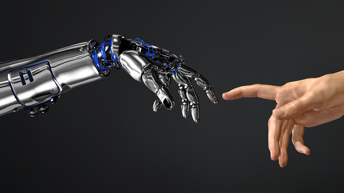You see two hands that point towards each other with their index fingers extended. One hand is human, the other belongs to a robotic arm. And fingers barely do not touch.